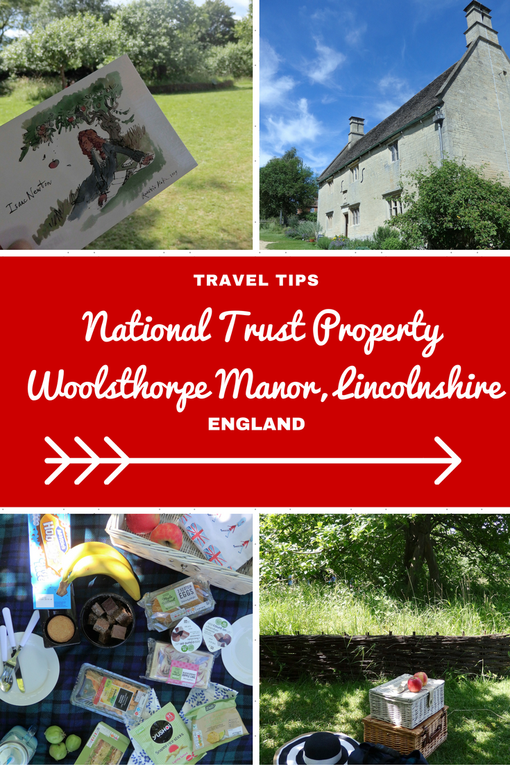 England Travel Inspiration - A day touring the National Trust properties in Lincolnshire including Woolsthorpe Manor, the family home of Sir Isaac Newton and his famous apple tree! Looking for the best picnic spot in England then look no further plus I show you where to find the best gluten free food picnic supplies for a great day out in England. Click the link to read my Lincolnshire Travel Tips!