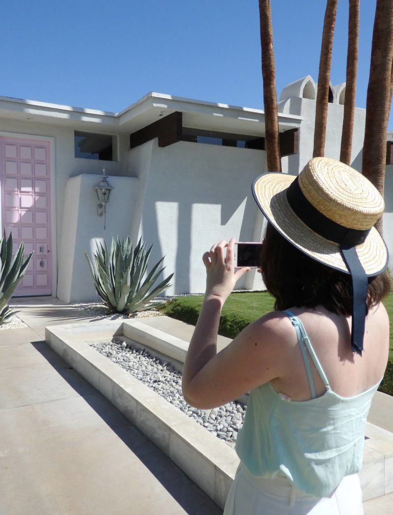 USA Travel Inspiration - California Dreaming in Palm Springs and that pink door which makes everyone go crazy on instagram! If you love retro architecture then you're going to fall in love with Palm Springs; there aren't a lot of things to do but it makes a relaxing stop on your California Road Trip...I've included some gluten free restaurant tips as well so you won't go hungry on your next vacation. I'm so glad to have ticked Palm Springs off my North America bucket list...click to read all my travel tips for Palm Springs.