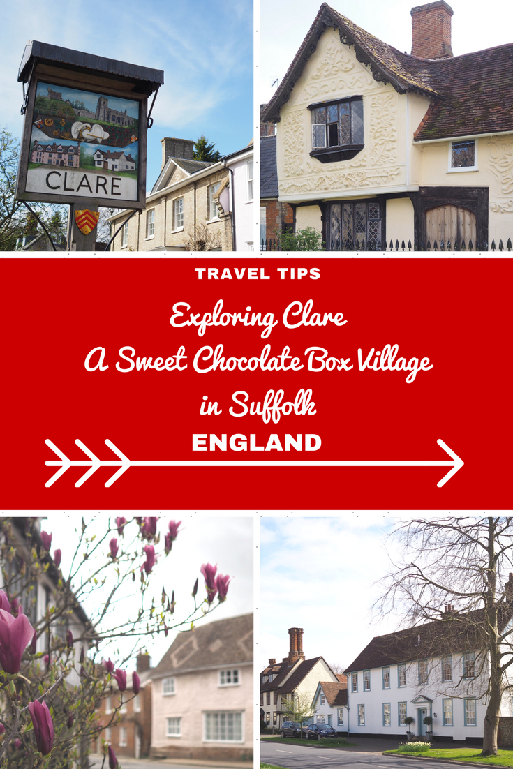 England Travel Inspiration - Exploring Clare, A Sweet Chocolate Box Village in Suffolk. Suffolk is a great destination for a day trip from London when you are next in England on vacation. There are so many beautiful destinations to discover including this gorgeous village in the English countryside. Click the link to read more Clare Travel Tips including what to see, where to eat and where to shop AND a very helpful full itinerary for a weekend trip to this county.