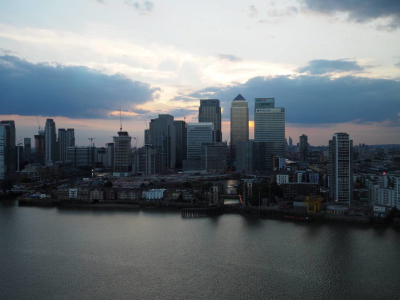 London Travel Inspiration - Sunset View of London from 18th Floor Bar Intercontinental O2 London Canary Wharf