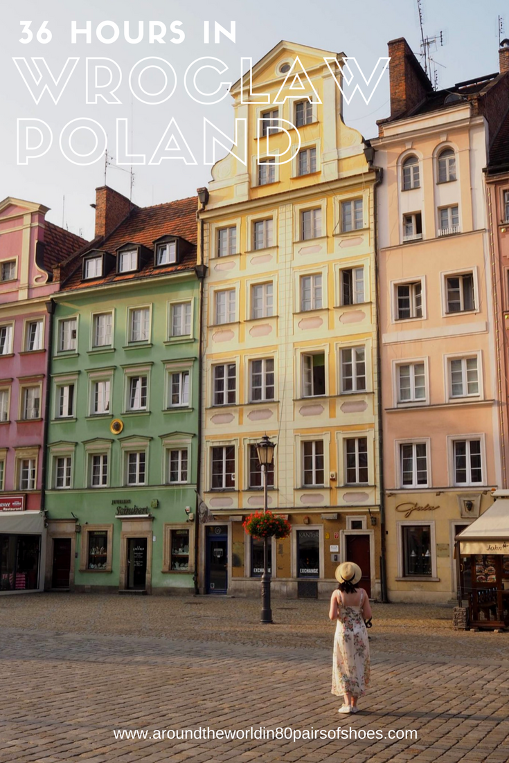 Poland Travel Inspiration - 36 Hours in Wroclaw, Poland. Wroclaw is so photogenic and is a photographers dream destination; the colourful architecture, the dwarfs and the history. There are so many things to do, see and eat in Wroclaw...pop on over to the blog to read my travel tips on this beautiful destination. #80pairsofshoes #wroclaw #poland #bucketlistideas #europe #travel